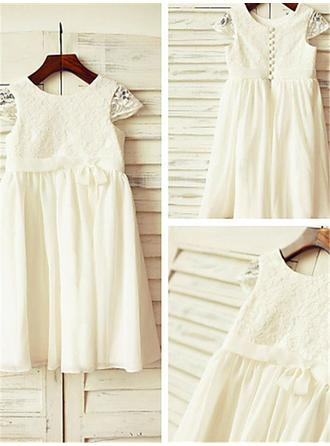 Scoop Neck A-Line/Princess Flower Girl Dresses Chiffon Lace/Pleated Sleeveless Tea-length