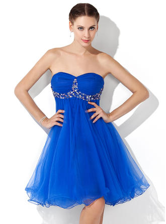 Empire Sweetheart Knee-Length Tulle Homecoming Dresses With Ruffle Beading