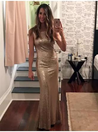 Sheath/Column Sequined Prom Dresses Magnificent Floor-Length Scoop Neck Sleeveless