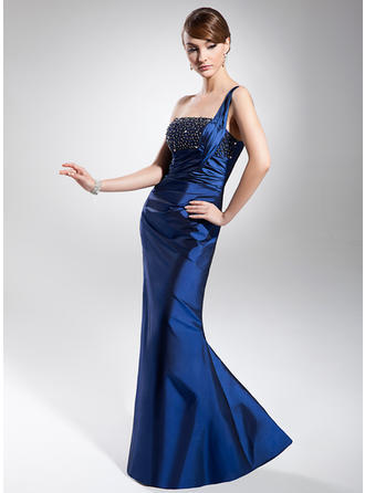 Trumpet/Mermaid One-Shoulder Floor-Length Evening Dress With Ruffle Beading