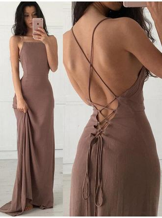 2019 New Chiffon Evening Dresses Sheath/Column Sweep Train Square Neckline Sleeveless