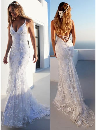 V-neck Trumpet/Mermaid Wedding Dresses Tulle Lace Sleeveless Court Train