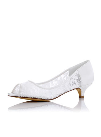 Women's Peep Toe Low Heel Cloth Mesh Wedding Shoes (047208668)