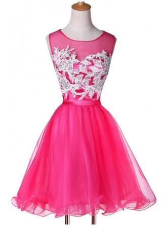 A-Line/Princess Scoop Neck Short/Mini Organza Prom Dress