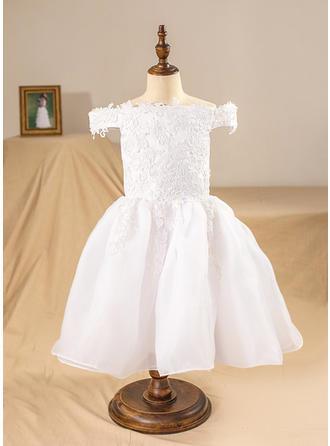 Robe Marquise Longueur mollet Robes à Fleurs pour Filles - Organza Sans manches Hors-la-épaule avec Motifs appliqués Dentelle