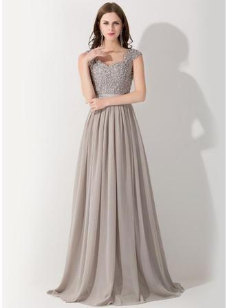 A-Line/Princess V-neck Floor-Length Evening Dress With Sequins