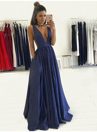 A-Line/Princess Taffeta Prom Dresses Newest Floor-Length V-neck Sleeveless