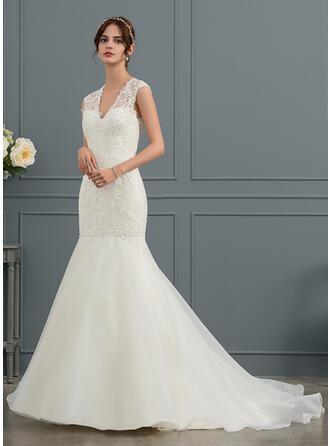 Trumpet/Mermaid V-neck Court Train Organza Wedding Dress