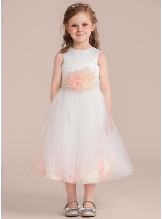 A-Line/Princess Tea-length Flower Girl Dress - Satin/Tulle Sleeveless Scoop Neck With Flower(s) (Detachable sash)
