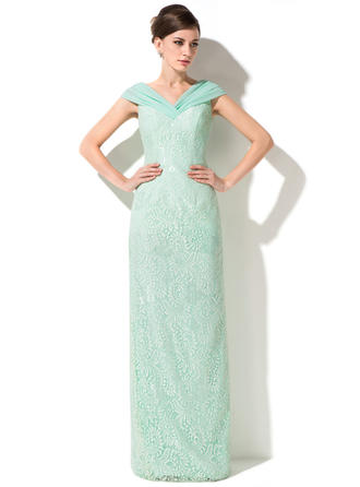 Sheath/Column Off-the-Shoulder Lace Sleeveless Floor-Length Ruffle Mother of the Bride Dresses