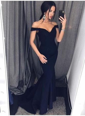 Trumpet/Mermaid Stretch Crepe Prom Dresses Luxurious Sweep Train Off-the-Shoulder Sleeveless