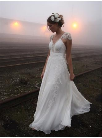 A-Line/Princess V-neck Court Train Wedding Dresses With Ruffle Bow(s)