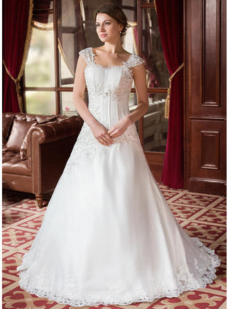 A-Line/Princess Ruffle Beading Appliques Satin Organza Court Train Three-dimensional Wedding Dresses