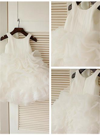 Scoop Neck Ball Gown Flower Girl Dresses Organza Ruffles Sleeveless Knee-length