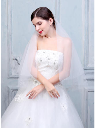 Fingertip Bridal Veils Tulle/Lace Two-tier Oval With Cut Edge Wedding Veils