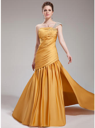 Trumpet/Mermaid One-Shoulder Satin Chiffon Sleeveless Court Train Ruffle Beading Split Front Evening Dresses (017019748)