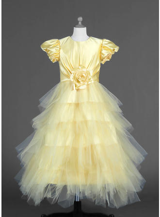 A-Line/Princess Scoop Neck Ankle-length With Ruffles/Flower(s) Tulle/Charmeuse Flower Girl Dress