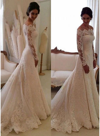 Glamorous Chapel Train Trumpet/Mermaid Wedding Dresses Off-The-Shoulder Tulle Lace Long Sleeves