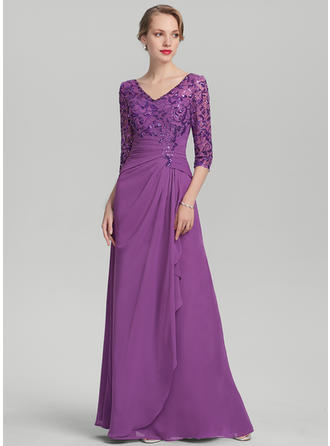 Chiffon Sequined 1/2 Sleeves Mother of the Bride Dresses V-neck A-Line/Princess Cascading Ruffles Floor-Length