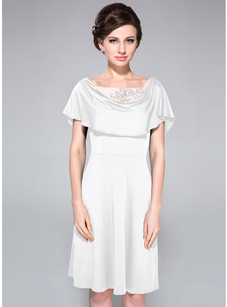 Jersey Short Sleeves Mother of the Bride Dresses Cowl Neck A-Line/Princess Lace Beading Sequins Cascading Ruffles Knee-Length