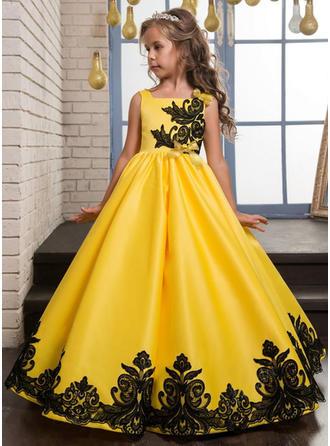 A-لاين أميرة عنق مربع الطول الأرضي صقيل/ربط الحذاء بلا أكمام فستان فتاة الزهور