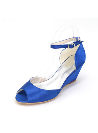 Women's Peep Toe Pumps Wedges Wedge Heel Satin With Buckle Wedding Shoes