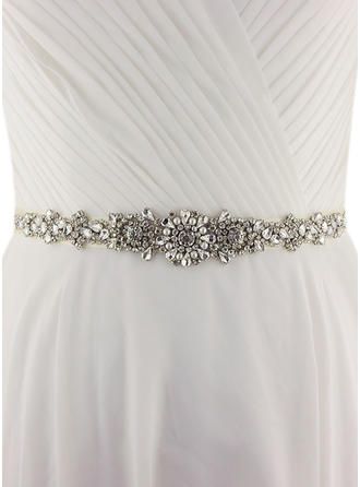 Women Satin With Rhinestones/Imitation Pearls Sash Elegant Sashes & Belts