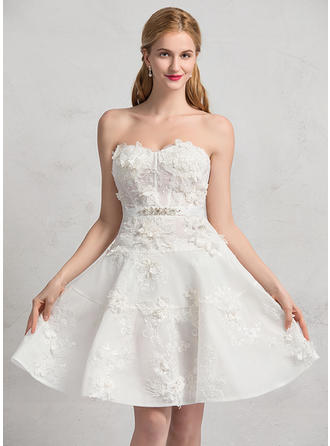 Modern Knee-Length A-Line/Princess Wedding Dresses Sweetheart Lace Sleeveless