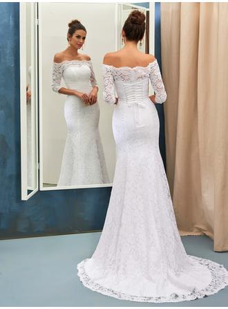Trumpet/Mermaid Lace Half Sleeves Off-The-Shoulder Sweep Train Wedding Dresses