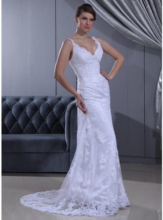 Sheath/Column Sweetheart Sweep Train Wedding Dresses With Ruffle Beading