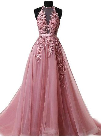 Tulle Sleeveless A-Line/Princess Prom Dresses Halter Appliques Lace Sweep Train