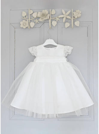 Tulle Scoop Neck Lace Baby Girl's Christening Gowns With Short Sleeves