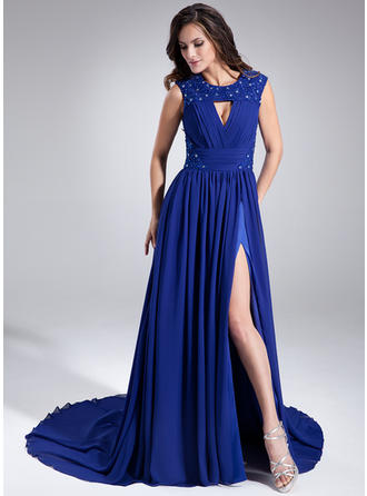 A-Line/Princess Scoop Neck Chapel Train Chiffon Prom Dress With Ruffle Beading Sequins Split Front