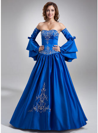 Modern Satin Prom Dresses Ball-Gown Floor-Length Sweetheart Long Sleeves