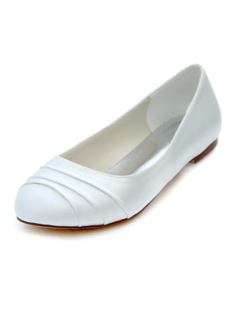Women's Closed Toe Flats Flat Heel Silk Like Satin No Wedding Shoes