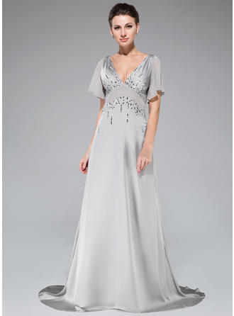 A-Line/Princess V-neck Satin Chiffon 1/2 Sleeves Sweep Train Beading Sequins Cascading Ruffles Evening Dresses