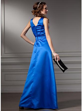 Aライン/プリンセスライン2 Vネック ラッフル サテン ブライドメイドドレス (007001783)