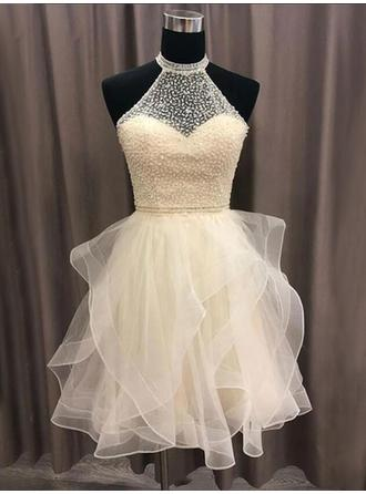 Beading High Neck With Organza Cocktail Dresses