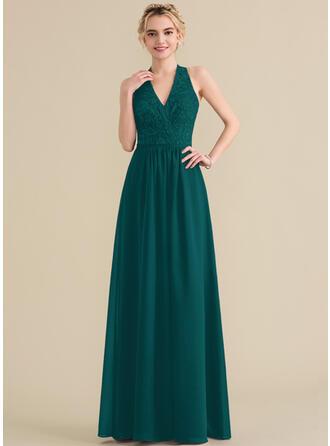 A-Line/Princess Halter Floor-Length Chiffon Lace Bridesmaid Dress With Bow(s)