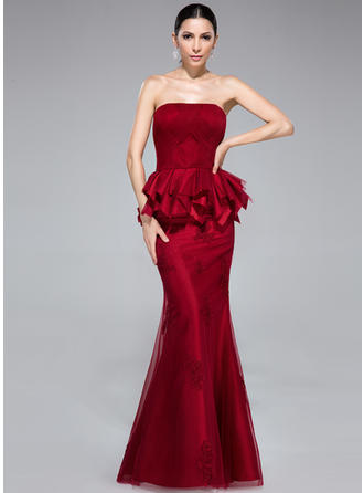 Trumpet/Mermaid Strapless Floor-Length Evening Dresses With Appliques Lace Cascading Ruffles