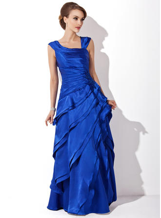 A-Line/Princess V-neck Floor-Length Mother of the Bride Dresses With Cascading Ruffles