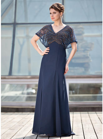 A-Line/Princess V-neck Chiffon 1/2 Sleeves Floor-Length Beading Mother of the Bride Dresses