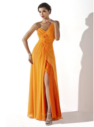 A-Line/Princess One-Shoulder Floor-Length Chiffon Prom Dress With Ruffle Flower(s) Split Front