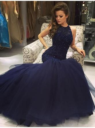 Trumpet/Mermaid Halter Tulle Sleeveless Floor-Length Beading Sequins Evening Dresses