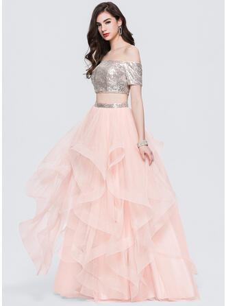 Ball-Gown Off-the-Shoulder Floor-Length Tulle Prom Dresses