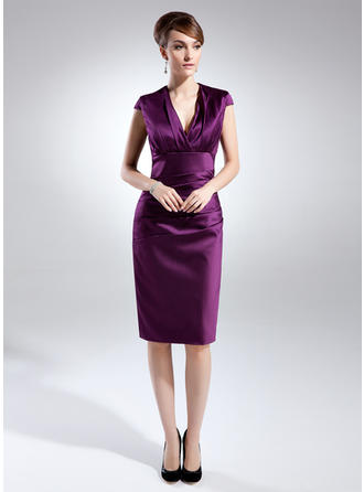 Beautiful Knee-Length Sheath/Column Satin Mother of the Bride Dresses