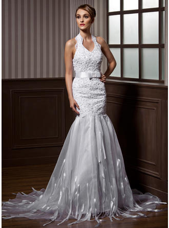 Magnificent Court Train Trumpet/Mermaid Wedding Dresses Halter Organza Sleeveless