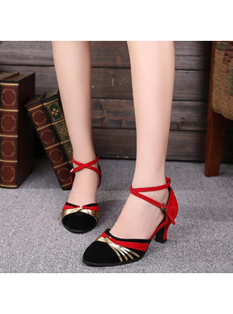 Women's Ballroom Heels Pumps Suede With Ankle Strap Dance Shoes