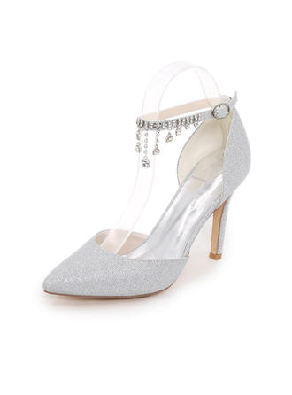 Women's Pumps Stiletto Heel Sparkling Glitter With Chain Wedding Shoes