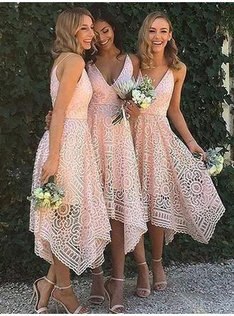 A-Line/Princess V-neck Asymmetrical Lace Bridesmaid Dresses